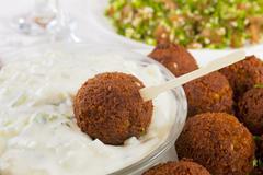 Falafel with tzatziki and tabbouleh Stock Photos