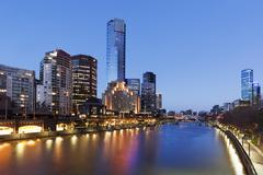 Melbourne australia on the yarra river twilight Stock Photos
