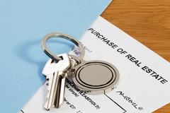 keys and contract - stock photo