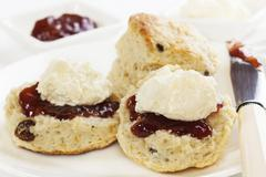 devon cream tea - stock photo
