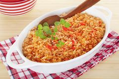 spanish rice mexican food - stock photo