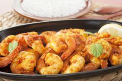 tandoori prawns shrimp indian curry food meal - stock photo