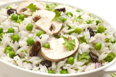 rice salad with peas and mushrooms - stock photo