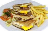 Bacon and egg sandwich close up Stock Photos