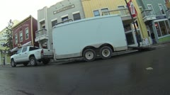 Pan of work truck as a semi goes by. Stock Footage