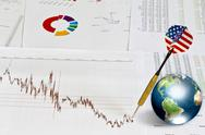 Business graph with earth and dart (elements of this image furnished by nasa) Stock Illustration
