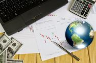 Pen and business graph with earth (elements of this image furnished by nasa) Stock Illustration