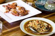 Stir fried pork whit basil Stock Photos