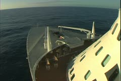 The Queen Mary 2, ocean liner, bow sailing in the South Atlantic Stock Footage