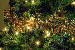 glowing lights on a christmas tree - stock photo