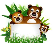funny brown bear family - stock illustration
