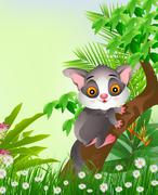 Galago on tree - stock illustration