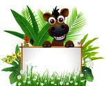 Stock Illustration of funny brown horse with blank sign