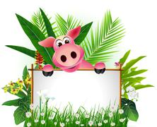 funny pig with blank sign - stock illustration