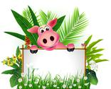 Stock Illustration of funny pig with blank sign