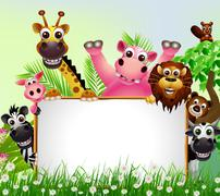 animal cartoon with blank sign - stock illustration