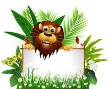 funny brown lion with blank sign - stock illustration