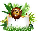 Stock Illustration of funny brown lion with blank sign