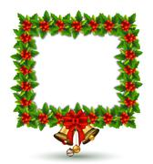Beauty Holly Christmas frame Stock Illustration