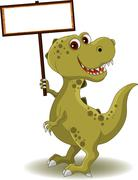 Stock Illustration of dinosaur with blank sign