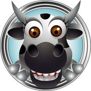 cute cow head cartoon - stock illustration