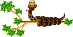 snake on the tree - stock illustration