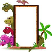 dinosaur with blank sign - stock illustration