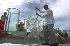 The Queen Mary 2, ocean liner, ice sculpture and carving on the aft deck Stock Footage