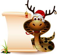 cute christmas snake with blank sign - stock illustration