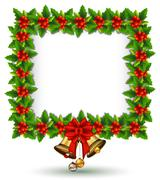 beauty Holly Christmas frame - stock illustration