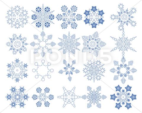 Stock Illustration of Snowflake Vectors collection