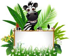 zebra cartoon with blank sign - stock illustration