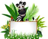 Zebra cartoon with blank sign Stock Illustration