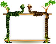 funny couple snake on the tree - stock illustration