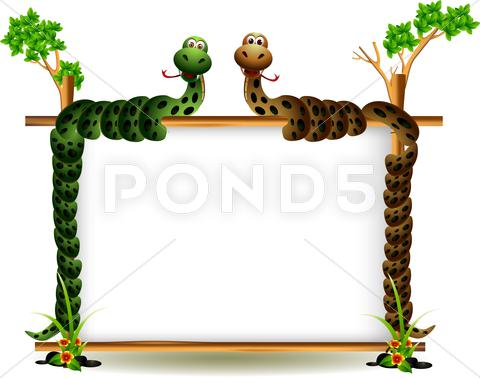 Stock Illustration of funny couple snake on the tree