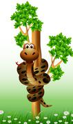 funny snake on the tree - stock illustration
