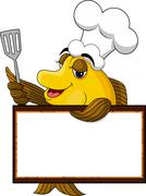 Funny yellow cartoon cook fish Stock Illustration