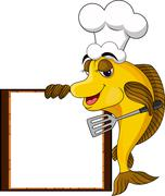 funny yellow cartoon cook fish - stock illustration