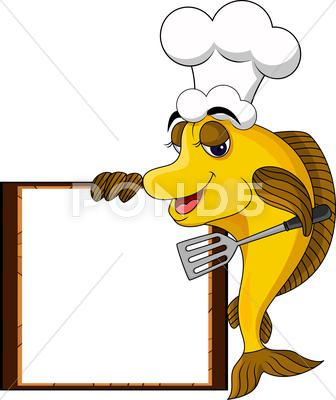 Stock Illustration of funny yellow cartoon cook fish