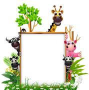 funny animal cartoon collection with blank sign and tropical forest background - stock illustration