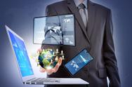 Business man with laptop,mobile phone,touch screen device  (elements of this  Stock Illustration