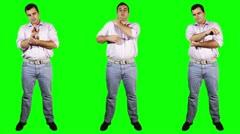 Men Wrist Shoulder Elbow Pain Bundle Full Body Greenscreen Stock Footage