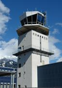 An aerodrome flying control tower - stock photo