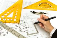 Hand draw blueprint of a house Stock Illustration