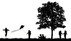 silhouettes of children read book under tree - stock illustration