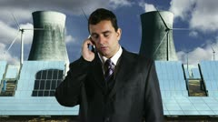 Young Businessman Getting Bad News Phone Energy Concept Stock Footage
