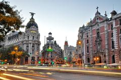Gran via street in madrid Stock Photos