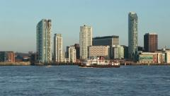 Mersey ferry passing apartment blocks, liverpool Stock Footage