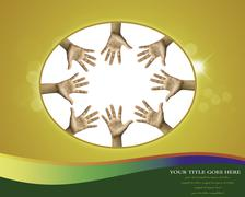 Photo of raised hands isolated on white background. Stock Illustration