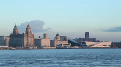 Liver buildings and liverpool UNESCO waterfront, england Stock Footage